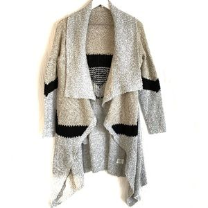 Solutions Long Draped Front Knit Duster Cardigan